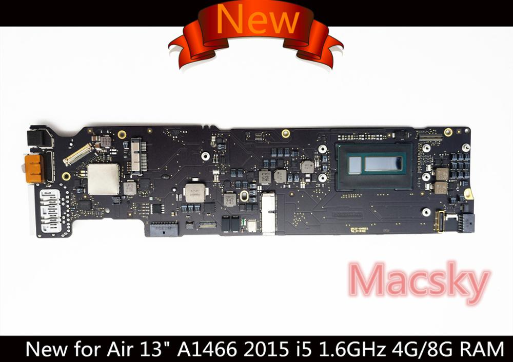 100% New Motherboard for MacBook Air 13 A1466 2015 i5 1.6GHz 8G 1.6GHz 4G RAM Logic Board 820-00165-02 / A with Serial Number 631 0347 m40a mlb 820 1900 a oem logic board 1 83 t2400 ghz for m mini a1176 emc 2108 ma608 gma 950 64m