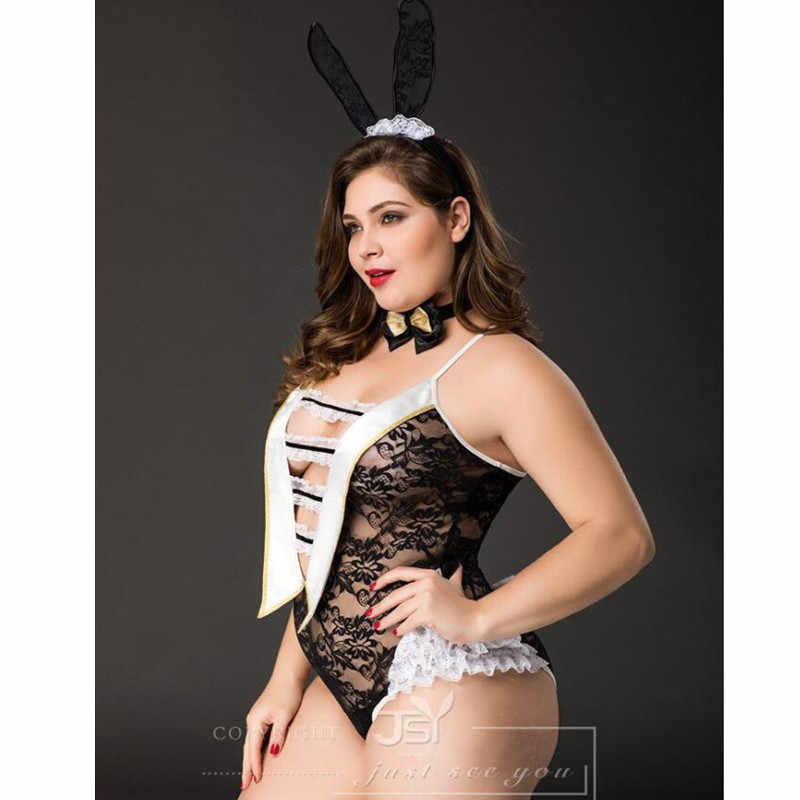 1410dfbc21 ... Plus Size Adult Women Sexy Lingerie Erotic Bunny Girl Cosplay Costumes  Fancy Big Size Rabbit Girl ...