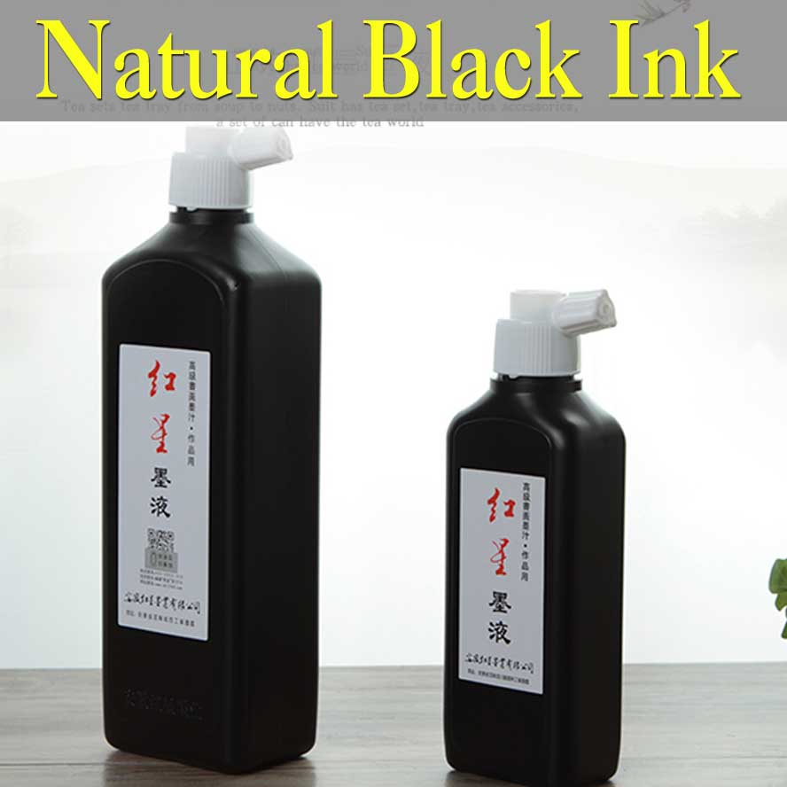 Chinese Black Ink Religious Prepared Chinese ink for Painting Calligraphy Art Supplies Natural ink stone Painting Paints plus size brief ink painting buttoned blouse