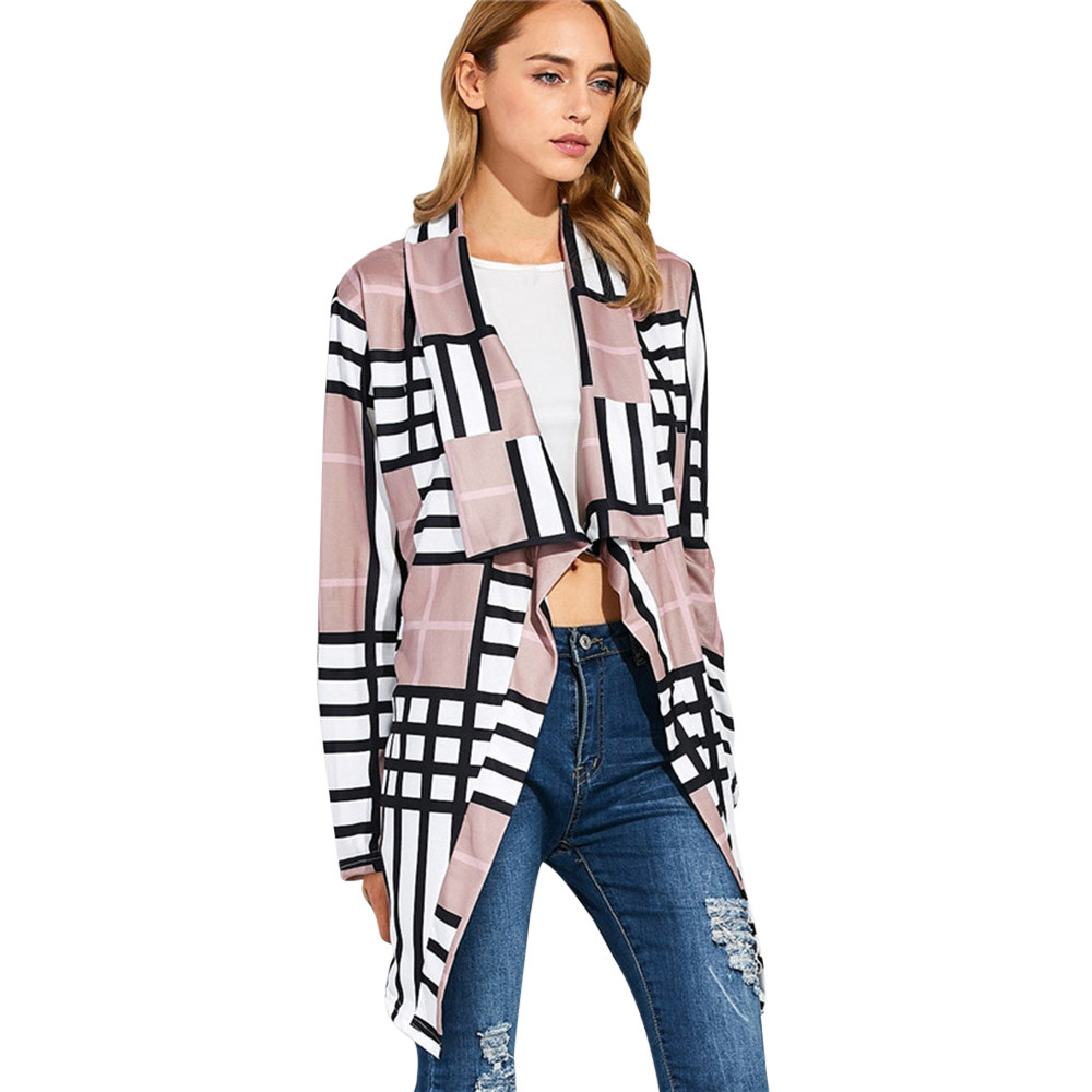 2017 KLV New Fashion Womens Casual Patch Plaid Long Sleeve Cardigan Coat Ladies Long Top ...
