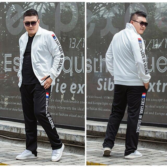 M-9XL Large Size Tracksuit Set Men Autumn Spring Sportwear Men Zipper Coat Pants 2 Piece Sets Sweat Suit Sporting Fitness Sets 4