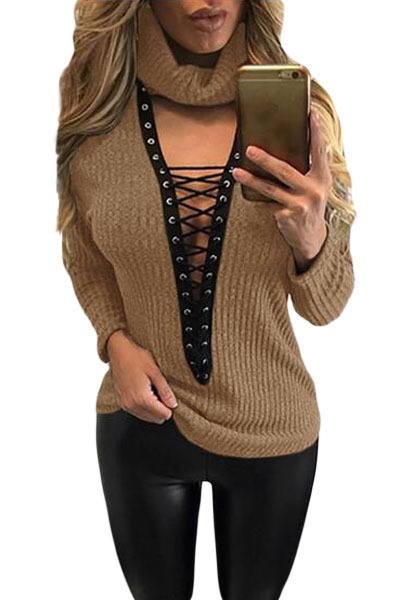 Fashion Autumn Apricot black Turtleneck long sleeve Lace Up Grommet V Plunge Sweater Slim V Neck Black Jumper top female LC27633