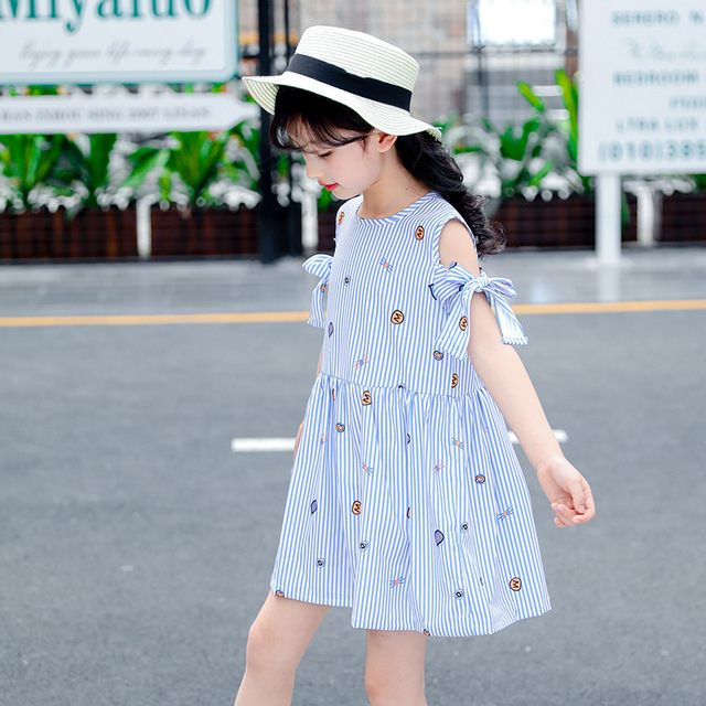 f02f89d2c girls dress blue striped summer 2018 8 10 12 years old clothing -in ...