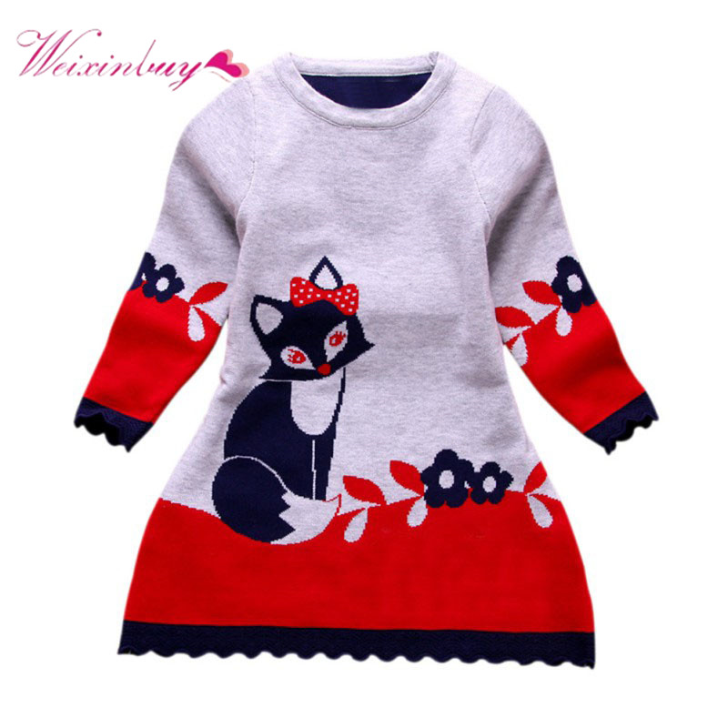 Winter Spring Double-layer Long-sleeve Kids Fox Clothing Thick Girl Fox Sweater Dress