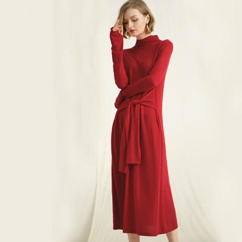 Hiver Solide Blue À red Avec Femmes Des Bleu Rose Grey dark Robe Casual Rouge pink Noir Tricoter Longue 2018 Automne Laine Ceintures Moitié Roulé Col AqXrwRxfA
