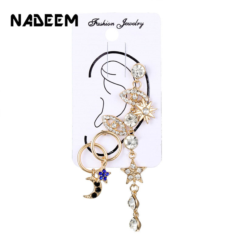 New Fashion 5Pcs Sets Bohemian Stud Earrings Gold Crystal Eyes Moon Star Hanging Earring Sets Female Accessories Wholesale in Stud Earrings from Jewelry Accessories