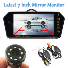 Latest 7 Inch Monitor TFT LCD Mirror Monitor Screen Display 8 Infrared Ligths Rear View Camera Reversing Parking Assist