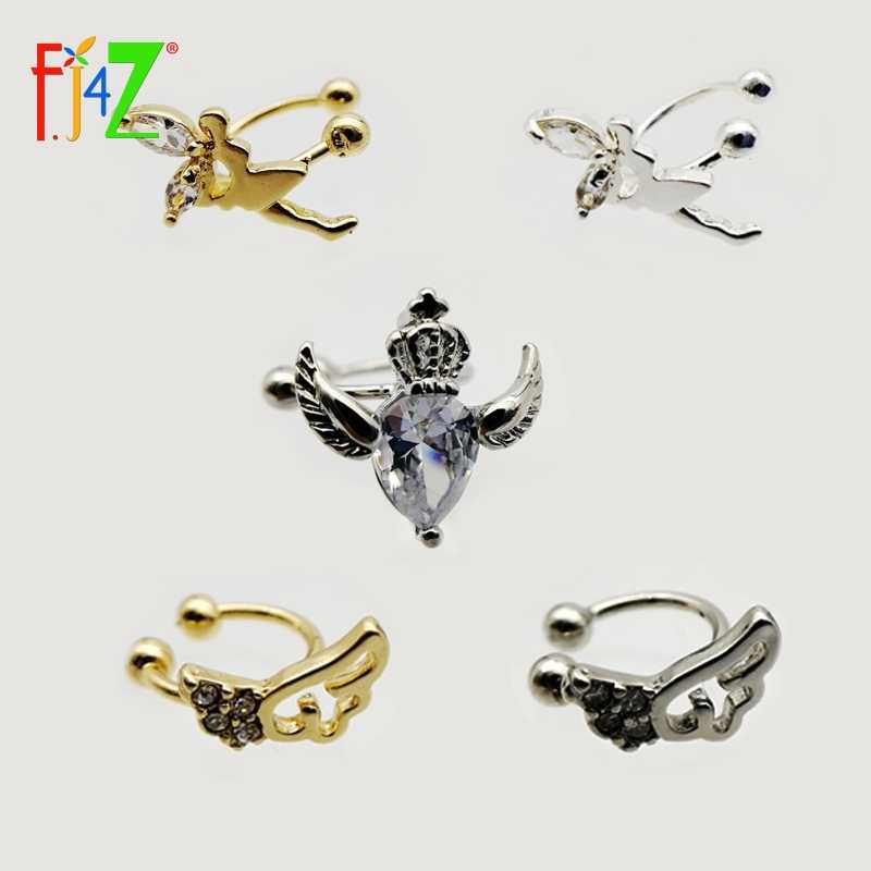 Clearance sale Fashion Ear Cuff Golden/Silver hollow mini wing/heart/fairy Crystal No Pierced Clip Earrings Ear Cuff For Women