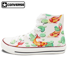 2016 New Shoes Cyprinus Carpio Fish Converse All Star Hand Painted Shoes HIgh Top Canvas Sneakers Unique Gifts for Men Women