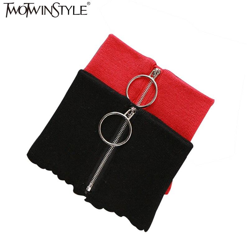 [TWOTWINSTYLE] 2016 Winter Rund Reißverschluss 100% Wolle Stricken Warm Ring Halsband Schal Frauen 4 Farbe Neue Mode