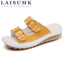 2019 LAISUMK Summer Women Flat Sandals Shoes Genuine Leather Ballet Slippers Round Toe Fringe Slides Sandals Female Flip Flops wedges slippers women 2018 slides sandals shoes women genuine leather closed toe handmade comfortable women flat shoes