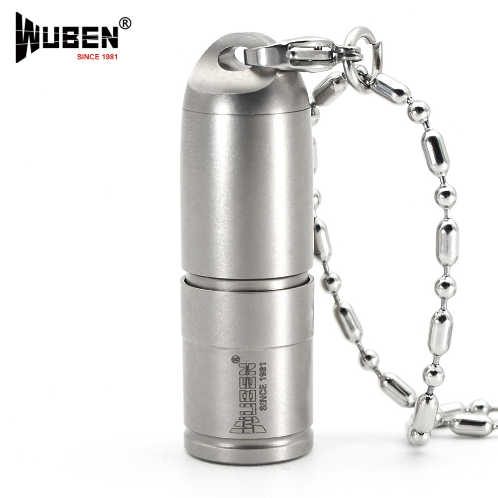 LED Flashlight Titanium Metal 130LM Flashlight LED Lamp with Necklace Portable Original Design Torch + Battery (WUBEN G338)
