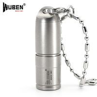 LED Flashlight Titanium Metal 130LM Flashlight LED Lamp With Necklace Portable Original Design Torch Battery WUBEN