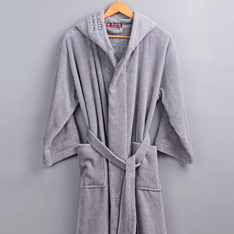 High Quality Thick Warm Towel Hooded Robes For Men Winter Cotton Terry Hotel Home Soft Bathrobe Male String Pocket Dressing Gown