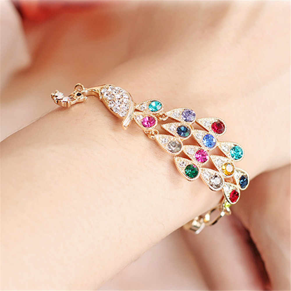 Charming Colorful Crystal Peacock Bracelets Bangles For Women Girls Bangle Gold Color Phoenix Bracelet Statement Jewelry A230