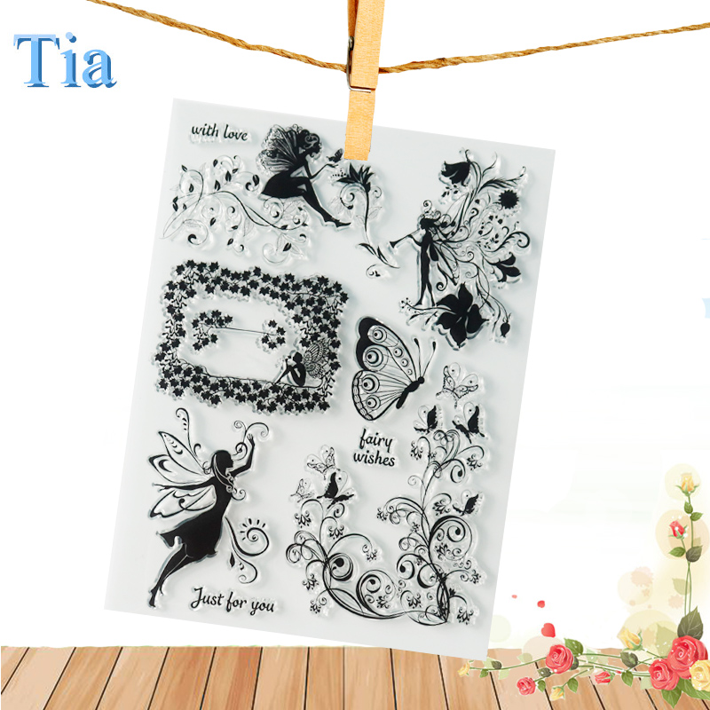 New Fairy wishes flower lady tale craft Clear Stamps Rubber Transparent Stamp 16*20cm Seal for scrapbooking Card Making Supplies new 220v photosensitive portrait flash stamp machine kit self inking stamping making seal holder film pad no ink