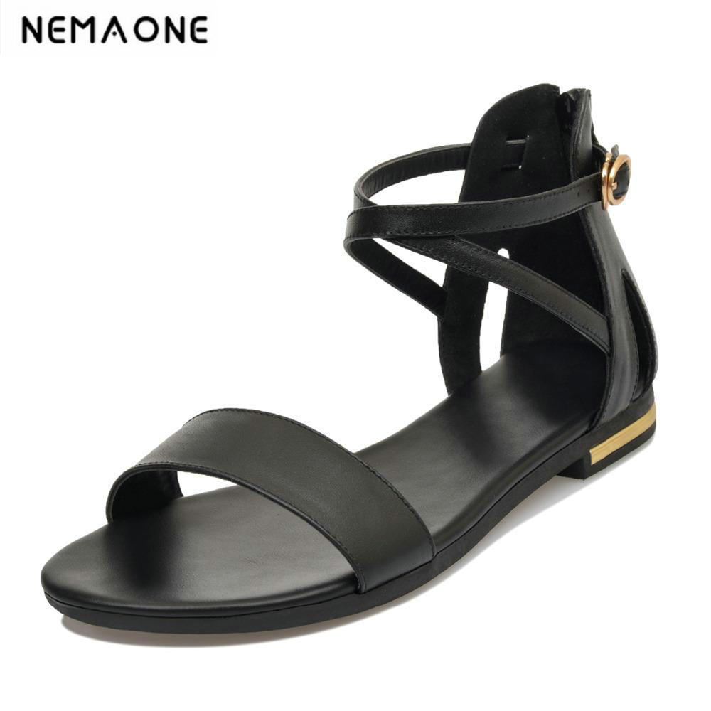 New Fashion Women Flat Sandals Summer cross Strap flat shoes women Flats casual Shoes Women big size 34-43 odetina 2017 new summer ankle strap ballet flats buckle women mary jane shoes round toe casual flat shoes sweet big size 34 43
