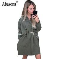 Abasona Women Shirt Dresses Autumn Long Sleeve Casual Office Ladies Work Dress Turn Down Collar Sequins