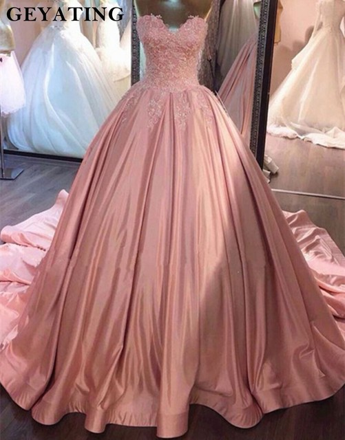 4207b1f05 Pink Spaghetti Straps Ball Gown Quinceanera Dresses 2019 Lace Appliques  Beaded Sweet 16 Dresses Backless Vestidos De 15 Anos