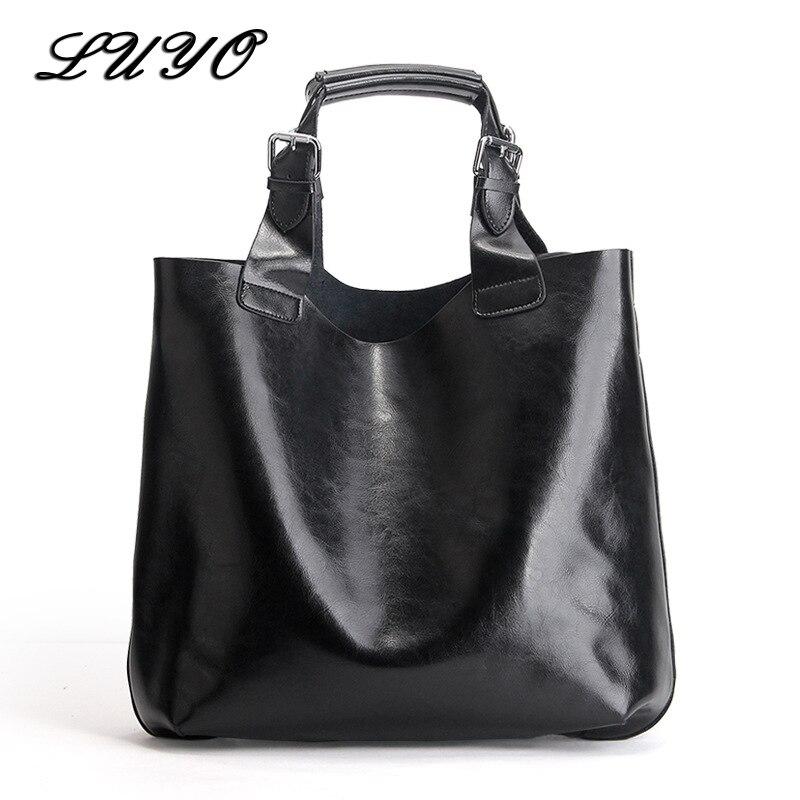 LUYO Brand Genuine Leather Candy Color Large Shopping Bag Ladies HandBags Top-handle Bags Female Women Tote Bolsas Feminina Sac