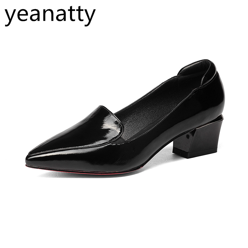 4cm vintage black Shoes Women spring autumn ladies genuine leather pointed Toe med Heels hoof  heel tide Shoes Free shipping women ladies flats vintage pu leather loafers pointed toe silver metal design