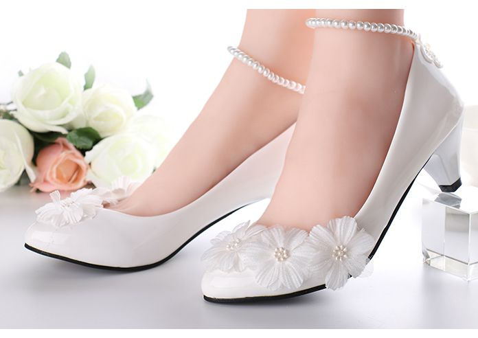 White wedding shoes for women beading pearls ankle straps bracelet female  ladies bridal pumps shoes handmade party shoe-in Women s Pumps from Shoes  on ... 0e64966b733e