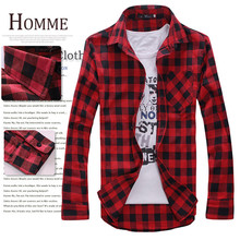 Men s Plaid Shirts 2017 Fashion Long Sleeve Slim Fit Cotton Shirt Free Styles Man Clothes