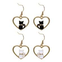 Fashion cartoon animals cat pendant earrings female Metal heart gold earrings for women fine jewelry accessories earrings