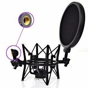 Image 3 - SH 101 sıcak satış mikrofon Mic profesyonel şok dağı ile Pop kalkan filtre ekranı kısa iplik mikrofon