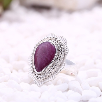 Private Custom Sterling 925 Silver Water Drop Shape Natural Precious AAA Ruby Ring Charms Jewelry Women Lucky Ring