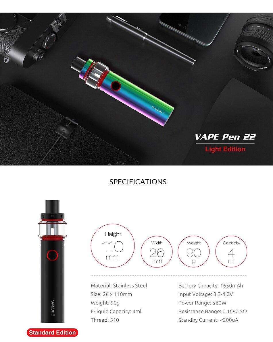 , Original SMOK Vape Pen 22 Light Edition with 1650mAh Battery + Atomizer 4ml + Mesh/Strip Coil vs Vape pen 22/Stick prince kit