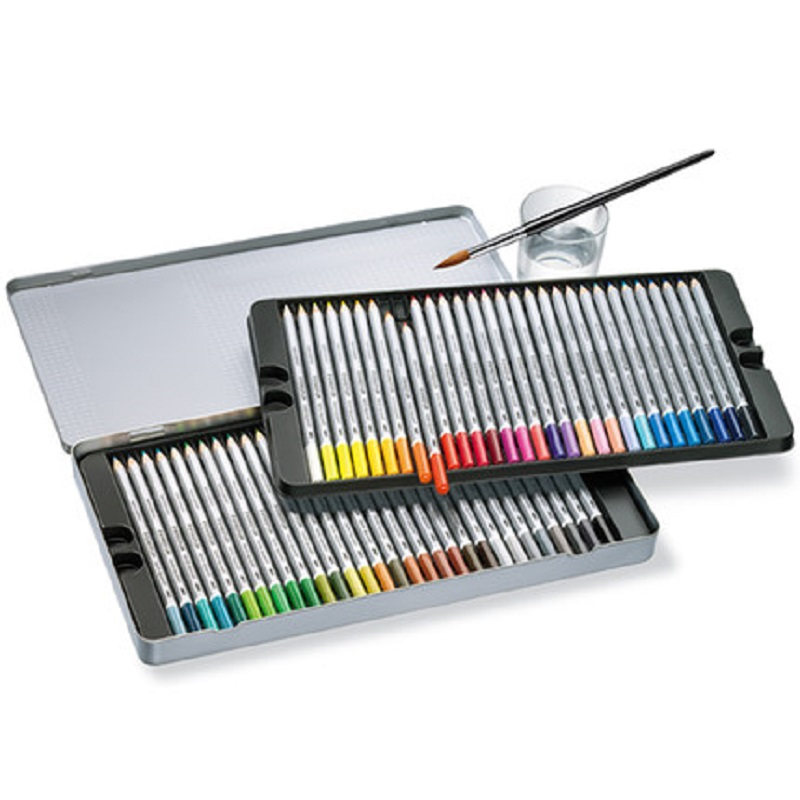 Germany Original staedtler IRON BOX set water-soluble color pencils wet and dry two-way using gift box set 12 24 36 48 60 color gifted set 26pcs iron box gift tools in fancy and portable silver tone box