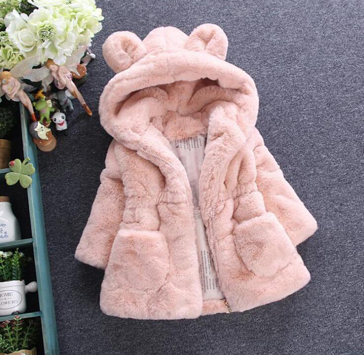 Solid Color Sweet Hooded Faux Fur Coat For Girls Autumn Winter Warm Children's Jacket Cute Ear Long Sleeve Baby Girl Clothes faux twinset rib splicing hooded long sleeve slimming modish pu leather jacket for men