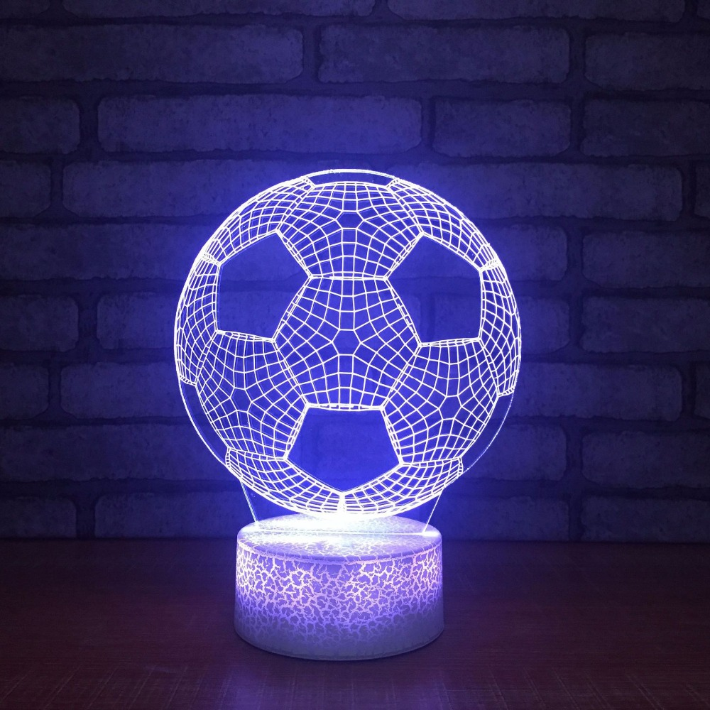 Home Decor Bedroom 3D LED Visual Football Shapes Touch Button Night Lights Colorful Gradient Table Lamp Mood Lighting Decoration image