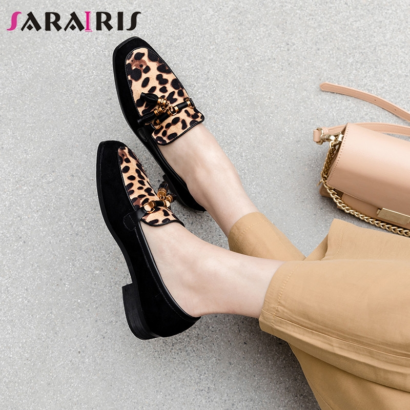 SARAIRIS 2019 New Big Size 32-43 Loafers Fringe Leopard Shallow Square Toe Shoes Woman Casual Party Soft Spring Autumn Flats