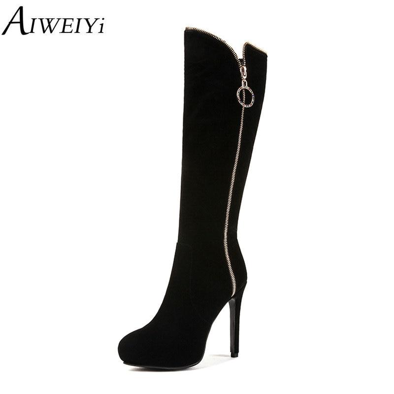 Aiweiyi Plattform Stiefel Frauen Knie Beflockung Heels Sexy Auf High F CBodxer
