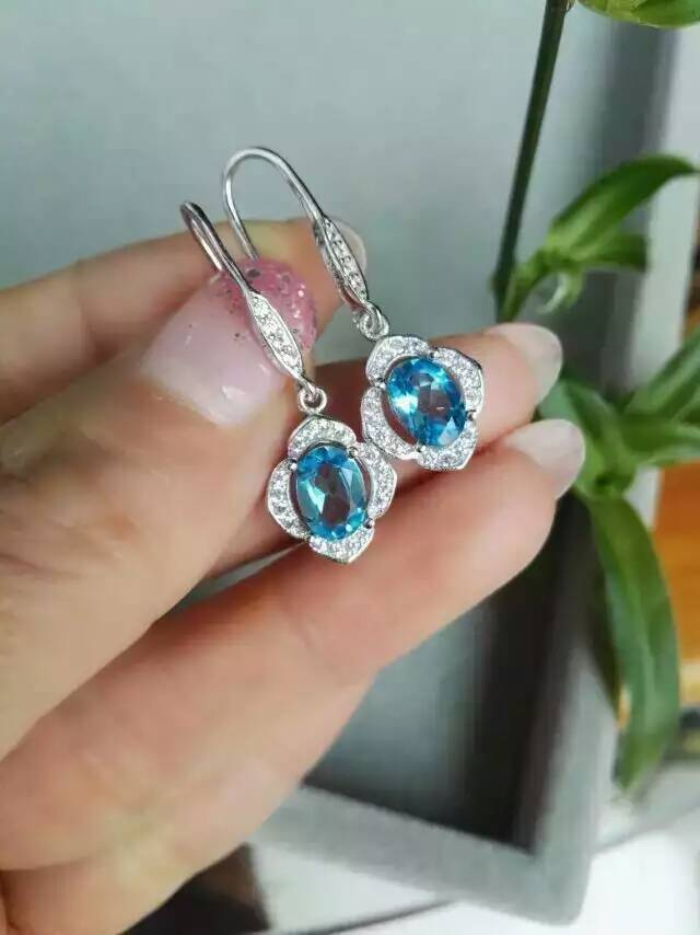 natural blue topaz stone drop earrings 925 silver Natural gemstone earring women personality fine drop earrings for party natural stone geometry drop earrings page 9