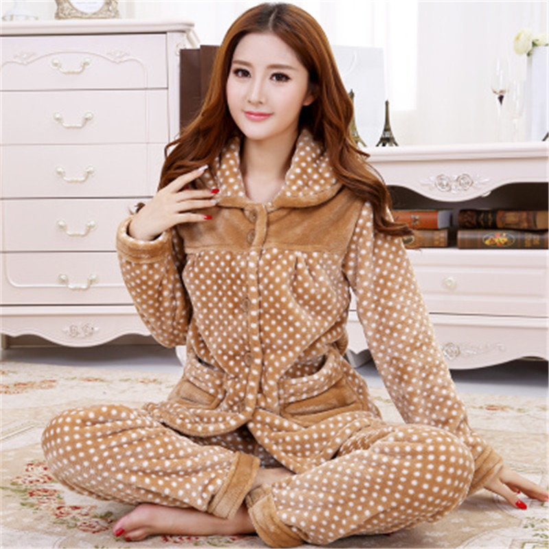 2018 New winter women and men flannel   pajamas     set   long sleeve long trousers coral fleece warm pyjamas couple home clothing