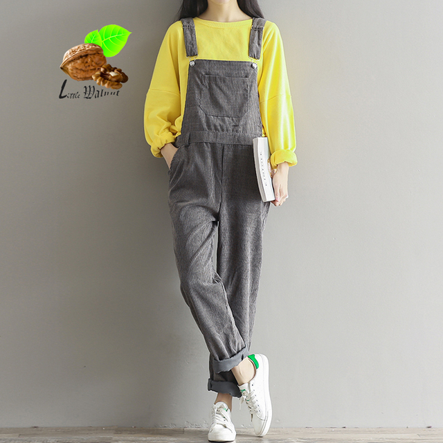 2017 Spring women Corduroy vintage Overall pants loose plus size casual long trousers bib pants woman's clothing Fashion clothes