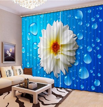 White Flower Water droplet Curtains Rich Blue color, Green Bamboo for Living Room Bedroom Blackout Curtains Drapes
