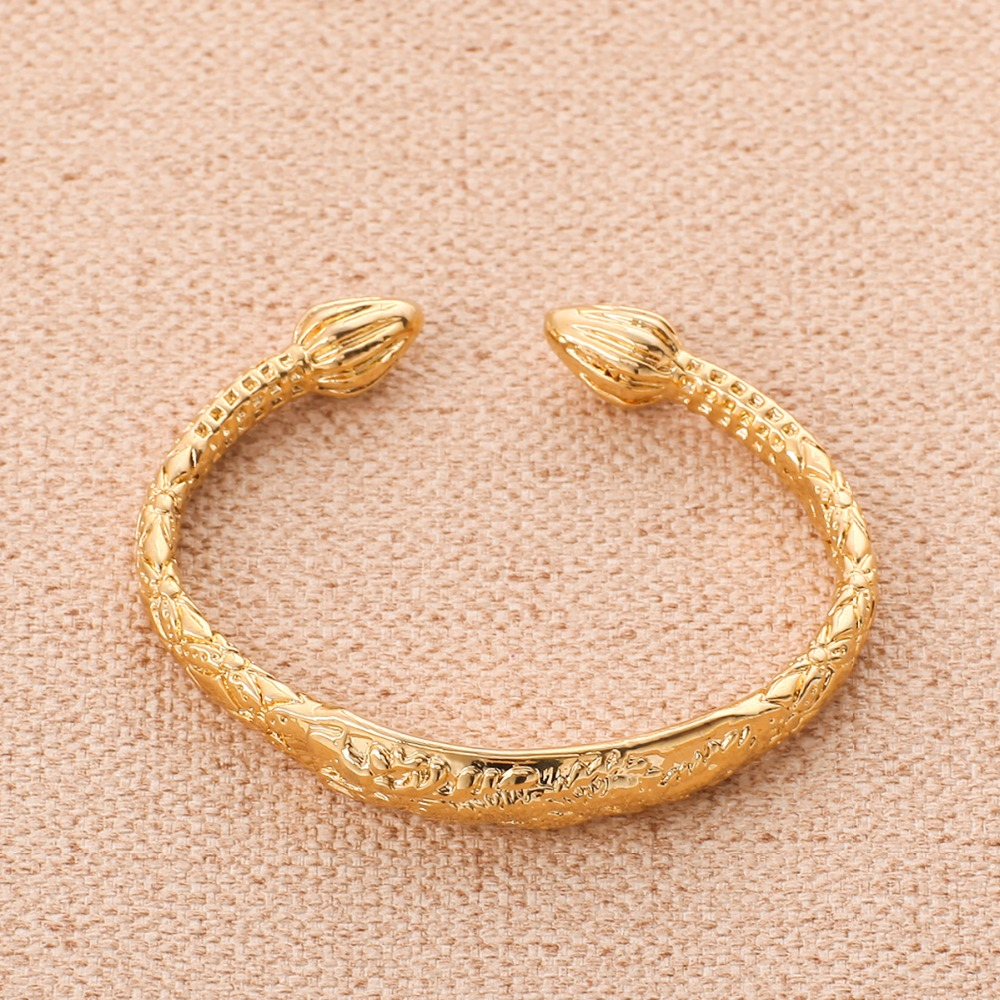 Dragon Bangle 24K Gold African Real Men Jewelry Accessories Dragon