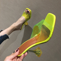 Green Sandals 9cm High Heels Slippers Clear Heels Summer Party Dress Sandals Fashion Transparent Slippers Ladies Silver Sandals
