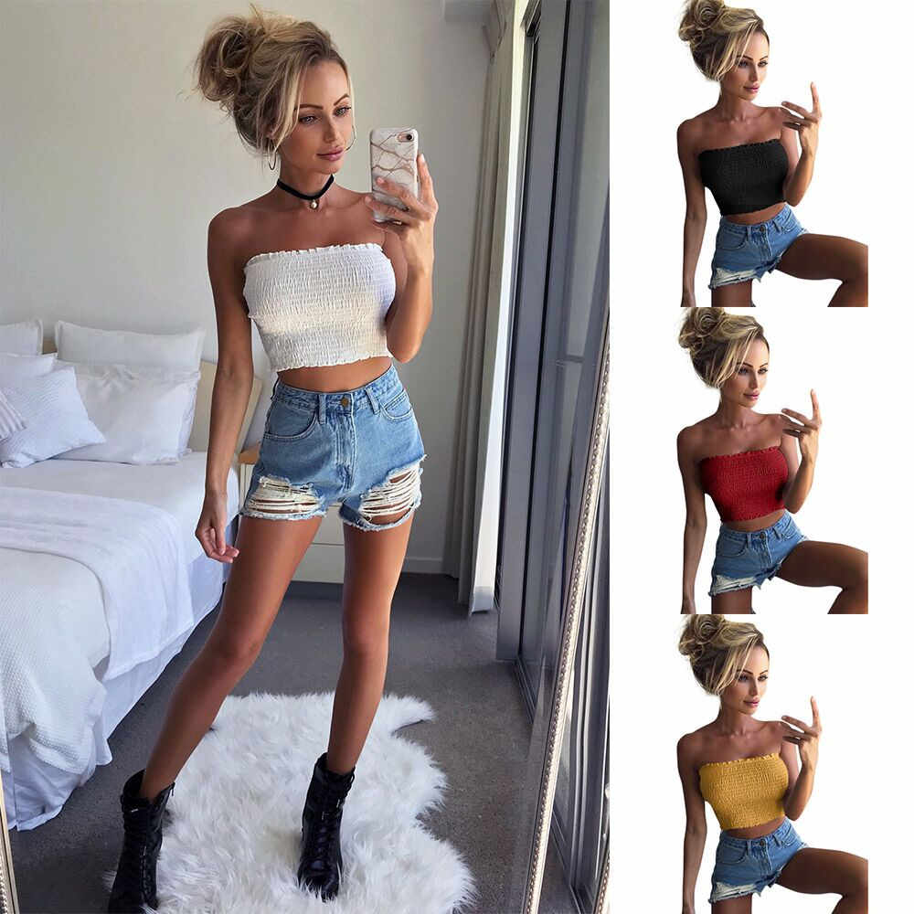 New Fashion Women Strapless Sexy Lady Solid Ruched Elastic Boob Bandeau Tube Tops Bra Lingerie Breast Wrap Tops streetwear Mujer