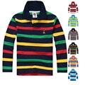 De alta Calidad de Los Muchachos camisetas de Manga Larga Suéteres Niños Kids Camisa de Polo Raya del Algodón Muchachas de la Marca T-Shirts