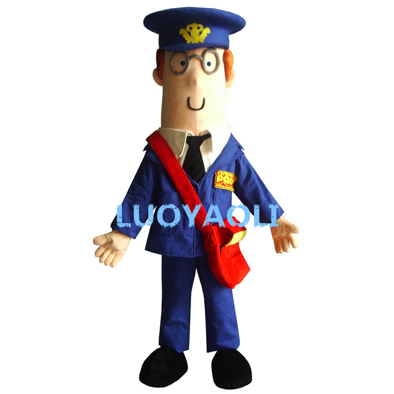 Hard-Working Yellow Postman Pat Mailman Mail Letter Carrier Man Mascot Costume