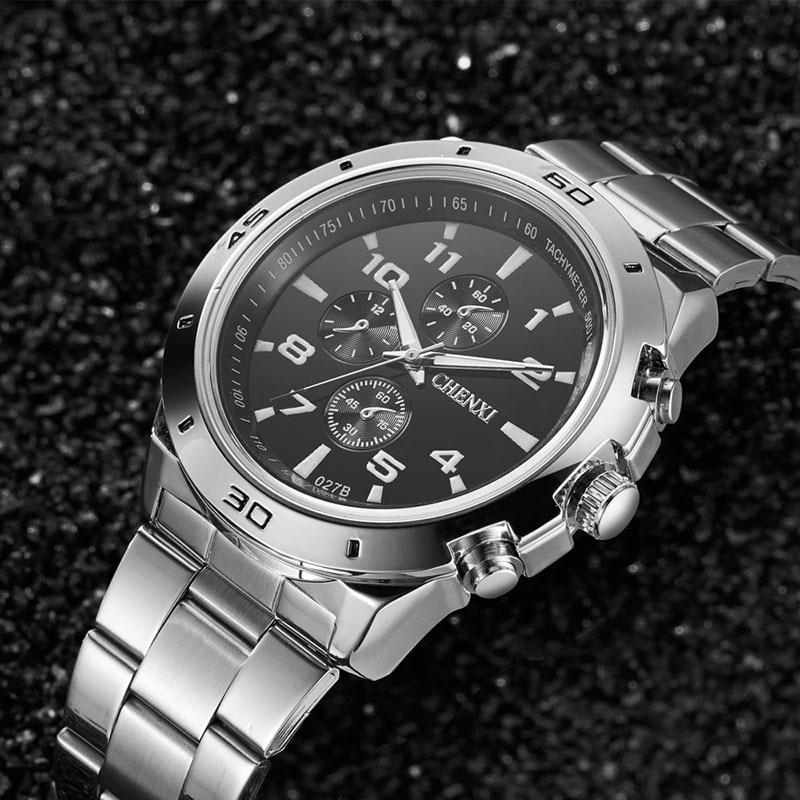 b7cdcf42f4 ... b88cb548837 CHENXI Marca de luxo Relógios homens À Prova D Água  Luminosa Casual Aço Inoxidável relógio ...