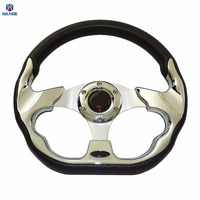 Universal 320mm PU Leather MOMO Racing Sports Auto Car Steering Wheel With Horn Button 12 5