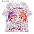 Hiawatha Verão Camisetas Meninas Impresso Harajuku Personagem de Manga Curta O-neck Camisetas Soltas T-shirt Plus Size Tops Tees T1492