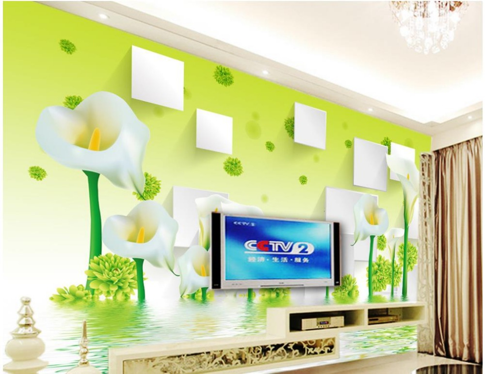 Green calla lily reflection Home Decoration wallpapers for living room 3d stereoscopic wallpaper