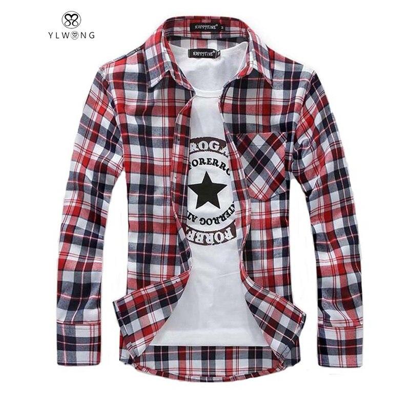 Casual men plaid shirt 2017 new flannel grid brand men 39 s for Best flannel shirt brands